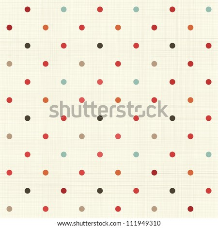 colorful polka dot seamless pattern on fabric texture - stock vector