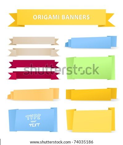 Colorful polygonal origami ribbons. Place your text here - stock vector