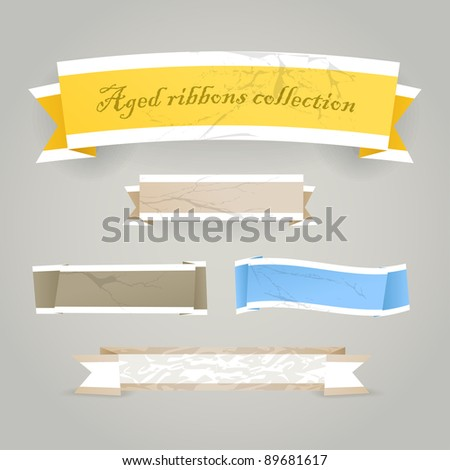 Colorful polygonal vintage origami banners. Place your text here - stock vector