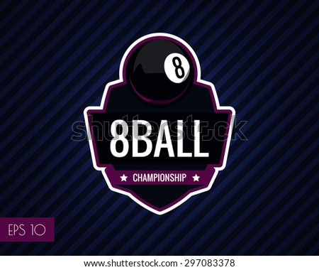 Colorful pool billiards logo label. Vector illustration. - stock vector
