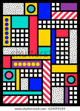 colorful poster design of geometric shapes.