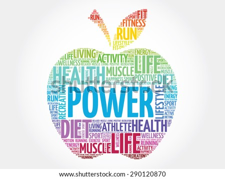 Colorful Power apple word cloud concept - stock vector