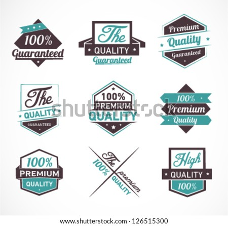 Colorful Premium Quality and Guarantee Label Set - stock vector