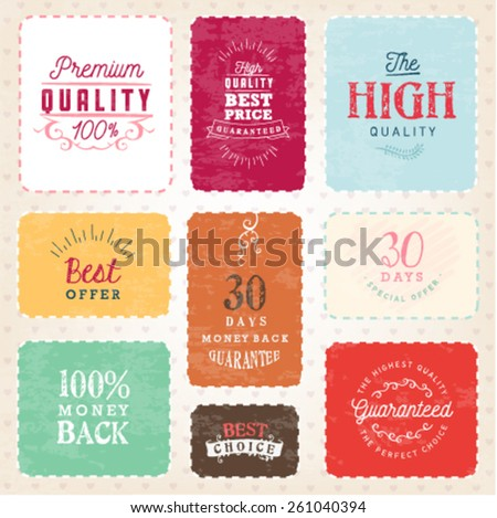 Colorful Premium Quality Badges and Design Elements in Vintage Style - stock vector