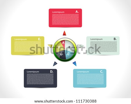 Colorful presentation with five text box - stock vector