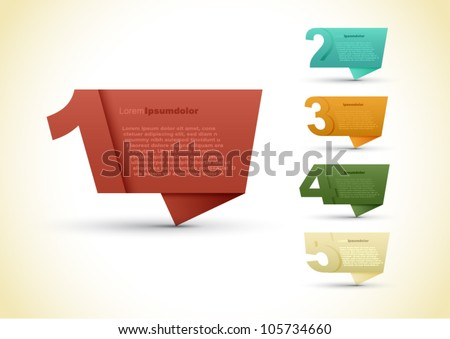Colorful presentations with five text box, speech bubble vector background - stock vector