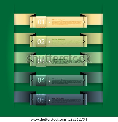 Colorful presentations with numbered banners - stock vector