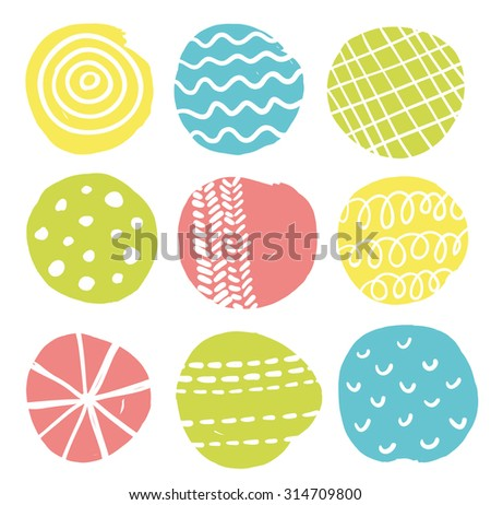 Colorful print. Vector illustration with scandinavian circles. - stock vector