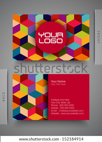 Colorful professional and designer business card set or visiting card set. - stock vector