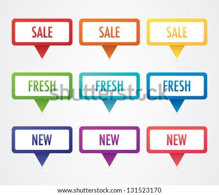 Colorful Promotional Labels - stock vector