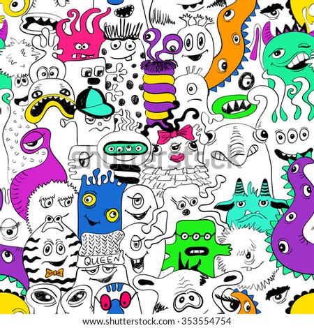 Colorful psychedelic seamless pattern with sketch funny monsters. Abstract graphic background. - stock vector