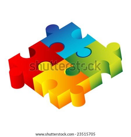 colorful puzzle - stock vector