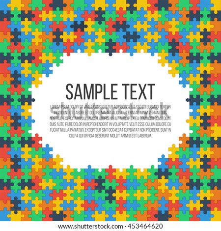Colorful puzzle frame. Place for your text. Vector, eps 10. - stock vector