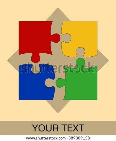Colorful puzzle logo, icon with place for text, editable. Suitable for stickers, signs, logos.