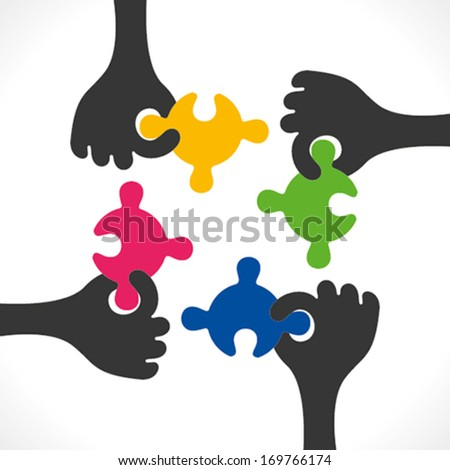 colorful puzzle piece join or teamwork , relation, support concept background vector - stock vector