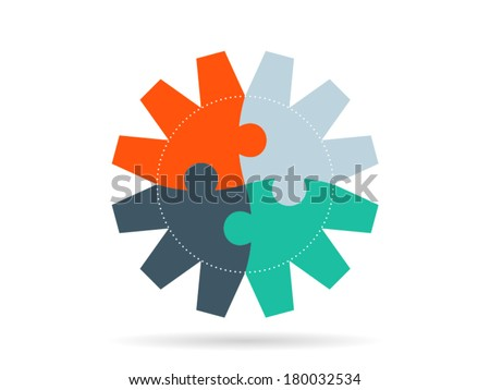 Colorful puzzle pieces forming a circle pattern in a gear vector illustration graphic isolated on white background - stock vector