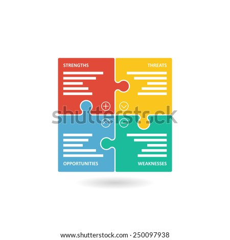 Colorful puzzle pieces forming a square swot diagram. Vector graphic illustration template isolated on white background. - stock vector
