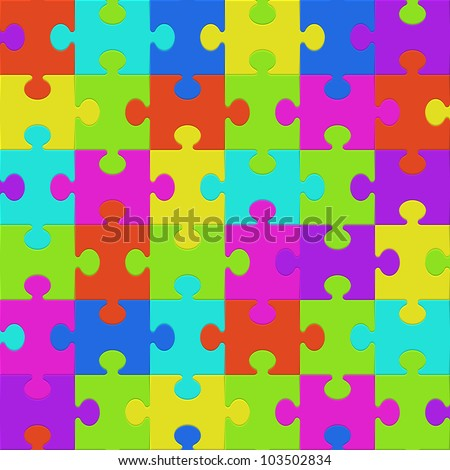 Colorful puzzle seamless background pattern. Vector illustration.