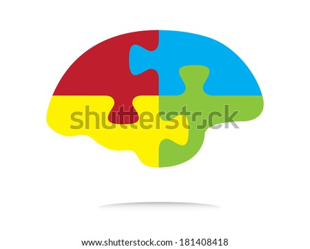 Colorful puzzle shaped brain, creative business vector. - stock vector