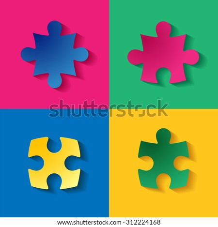 Colorful puzzle with long shadow vector illustration - stock vector