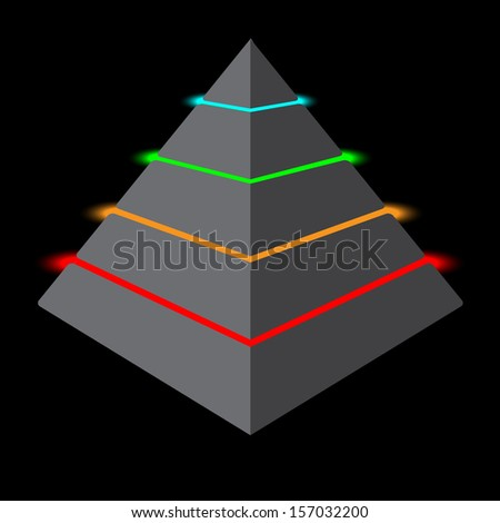 Colorful pyramid design element isolated on black background - stock vector