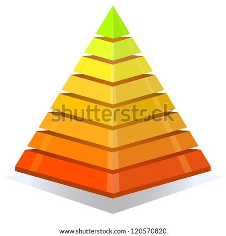 Colorful pyramid design element isolated on white background. - stock vector