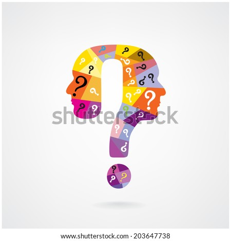 colorful question mark man head symbol. Vector illustration  - stock vector