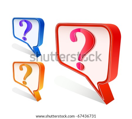 colorful question mark pointer   sign isolated on white background - stock vector