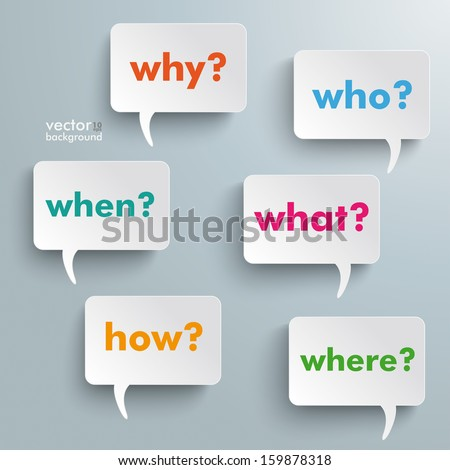 Colorful questions speech paper bubbles with questions. Eps 10 vector file. - stock vector
