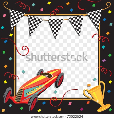 Colorful race car  or soap box derby party invitation with copy space