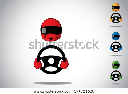 colorful racing car driver helmet with hands on steering wheel. - stock vector