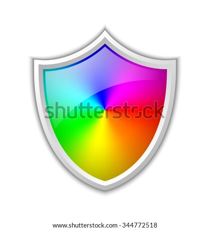 Colorful radial gradient in shield shaped badge made of rainbow spectral colors placed on white background - stock vector
