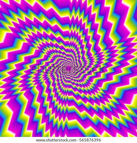 Illusions d'optique et trompe-l'oeil - Page 2 Stock-vector-colorful-rainbow-flower-optical-expansion-illusion-565876396