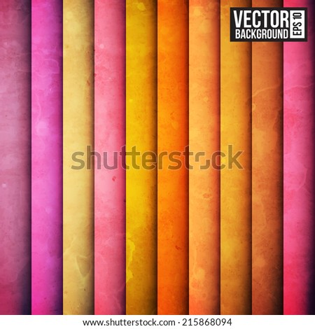 Colorful rainbow paper stripe background. Retro pattern - stock vector