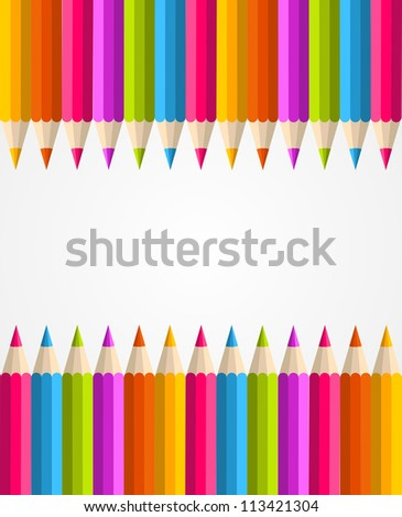 Colorful rainbow pencil banner seamless pattern background. Vector illustration layered for easy manipulation and custom coloring. - stock vector