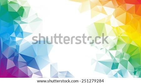 Colorful rainbow polygon background or vector frame - stock vector