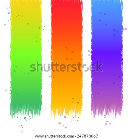 Colorful rainbow Ribbons with drops.
