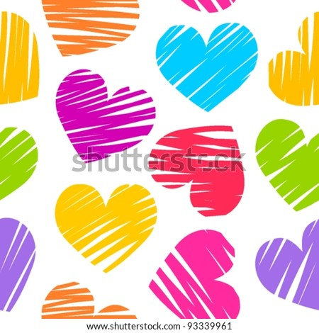 Colorful rainbow sketchy hearts seamless pattern/ background