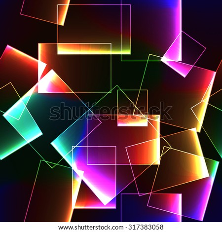 Colorful rainbow transparent shiny block of glass or ice on dark seamless background