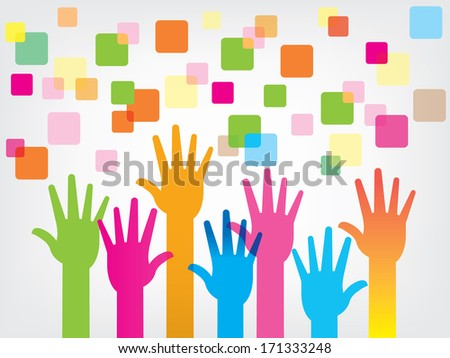 Colorful raised hands,background - stock vector