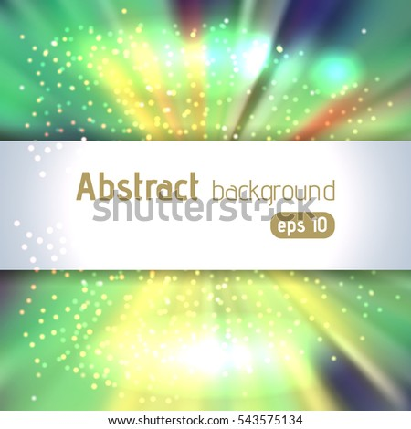 Colorful rays background with place for text. Abstract motion blur background with power explosion. Vector illustration. Green, yellow colors.