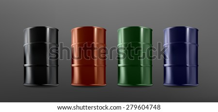 Colorful realistic barrel collection on dark background, vector eps10 illustration