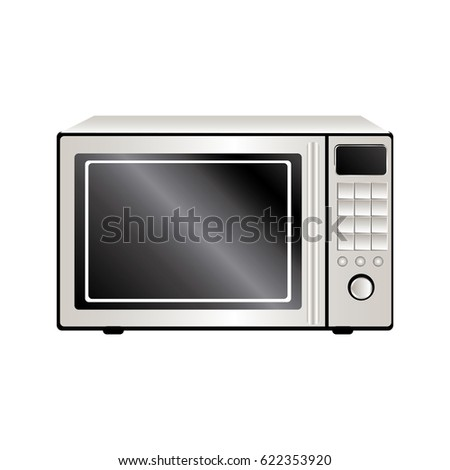 colorful realistic silhouette with oven microwave vector illustration