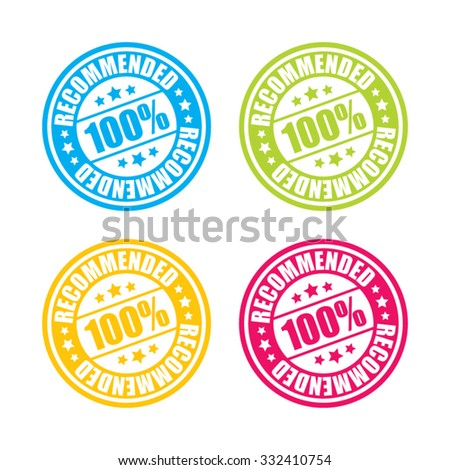 Colorful Recommended Stamp Labels - stock vector