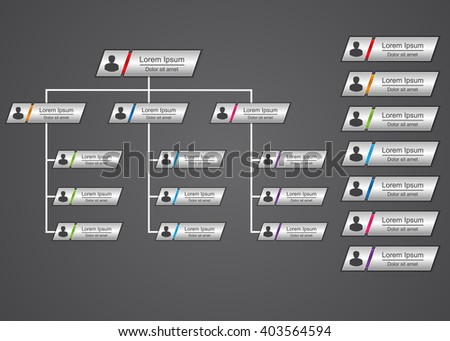 Colorful Rectangle Organization Chart Infographics, People Icon, Business Structure, Vector Illustration. - stock vector