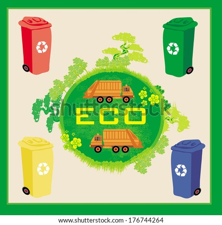 Colorful recycle bins ecology concept with landscape and garbage - stock vector