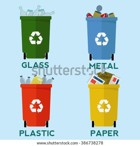 Colorful recycle garbage bins, waste segregation vector concept