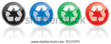 Colorful recycle icons symbols