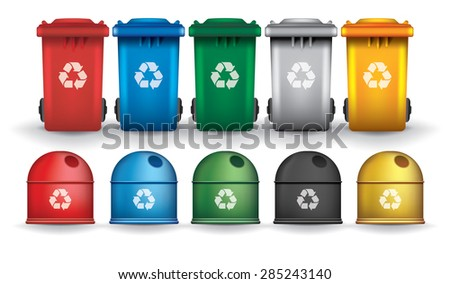 Colorful recycle trash bins and containers, vector set - stock vector