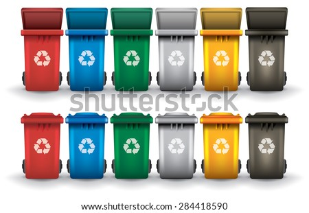 Colorful recycle trash bins open and closed isolated white, vector set
